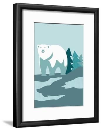 Simple Polar Bear - Blue-Lantern Press-Framed Art Print