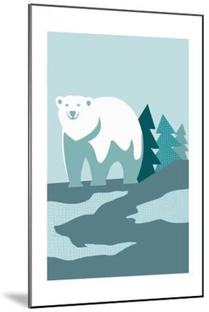 Simple Polar Bear - Blue-Lantern Press-Mounted Art Print
