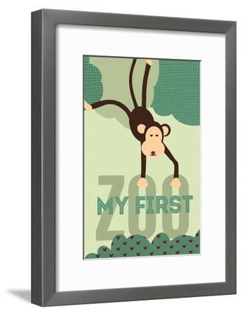 My First Zoo - Monkey - Green-Lantern Press-Framed Art Print
