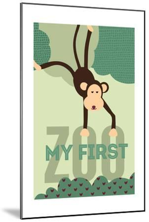 My First Zoo - Monkey - Green-Lantern Press-Mounted Art Print
