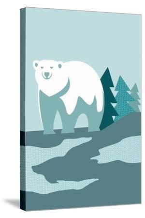 Simple Polar Bear - Blue-Lantern Press-Stretched Canvas Print
