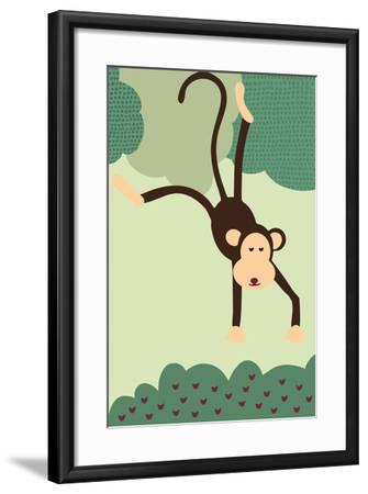 Simple Monkey - Green-Lantern Press-Framed Art Print
