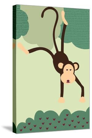Simple Monkey - Green-Lantern Press-Stretched Canvas Print