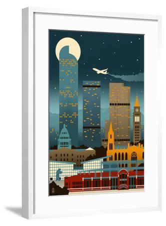 Denver, Colorado - Retro Skyline (no text)-Lantern Press-Framed Art Print