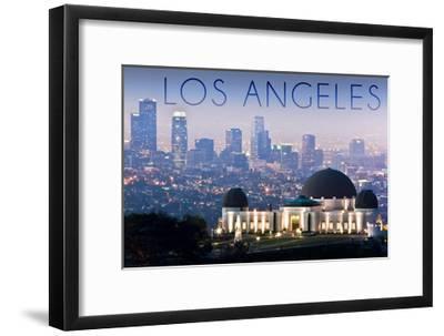 Los Angeles, California - Griffith Observatory and Skyline-Lantern Press-Framed Art Print