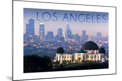 Los Angeles, California - Griffith Observatory and Skyline-Lantern Press-Mounted Art Print