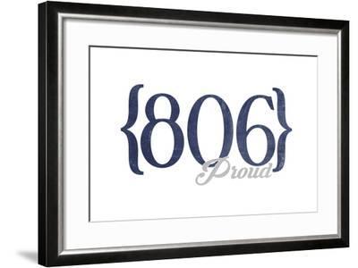 Amarillo, Texas - 806 Area Code (Blue)-Lantern Press-Framed Art Print