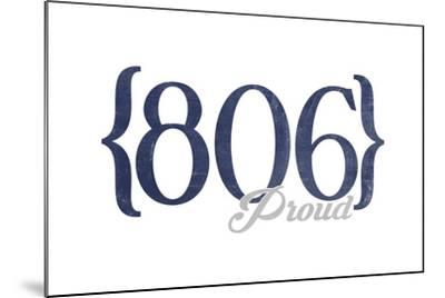 Amarillo, Texas - 806 Area Code (Blue)-Lantern Press-Mounted Art Print