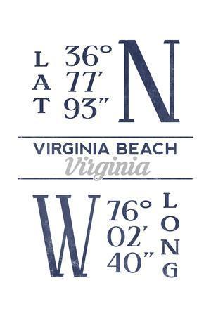 Virginia Beach, Virginia - Latitude and Longitude (Blue)-Lantern Press-Framed Art Print