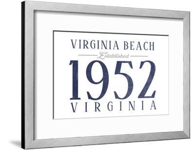 Virginia Beach, Virginia - Established Date (Blue)-Lantern Press-Framed Art Print