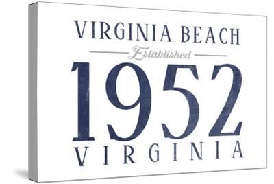 Virginia Beach, Virginia - Established Date (Blue)-Lantern Press-Stretched Canvas Print