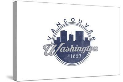 Vancouver, Washington - Skyline Seal (Blue)-Lantern Press-Stretched Canvas Print