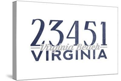 Virginia Beach, Virginia - 23451 Zip Code (Blue)-Lantern Press-Stretched Canvas Print