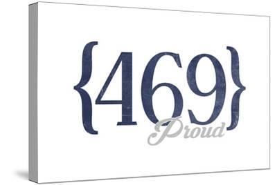 Mesquite, Texas - 469 Area Code (Blue)-Lantern Press-Stretched Canvas Print