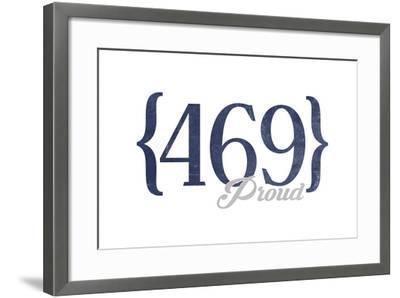Mesquite, Texas - 469 Area Code (Blue)-Lantern Press-Framed Art Print