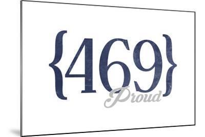 Mesquite, Texas - 469 Area Code (Blue)-Lantern Press-Mounted Art Print