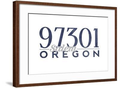 Salem, Oregon - 97301 Zip Code (Blue)-Lantern Press-Framed Art Print