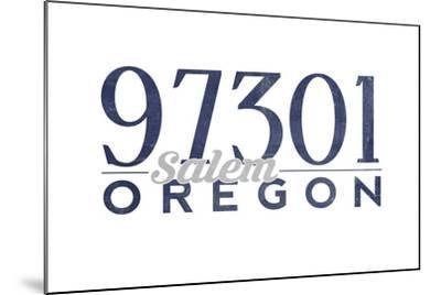 Salem, Oregon - 97301 Zip Code (Blue)-Lantern Press-Mounted Art Print