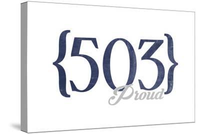 Salem, Oregon - 503 Area Code (Blue)-Lantern Press-Stretched Canvas Print