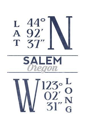 Salem, Oregon - Latitude and Longitude (Blue)-Lantern Press-Framed Art Print