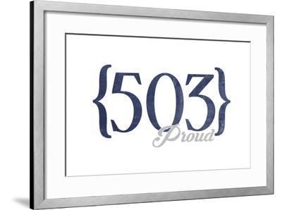 Salem, Oregon - 503 Area Code (Blue)-Lantern Press-Framed Art Print