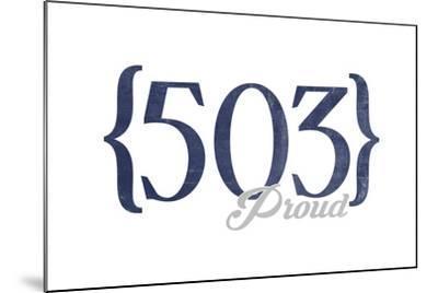 Salem, Oregon - 503 Area Code (Blue)-Lantern Press-Mounted Art Print