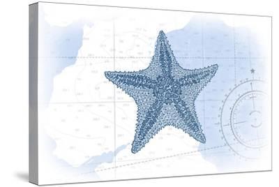 Starfish - Blue - Coastal Icon-Lantern Press-Stretched Canvas Print