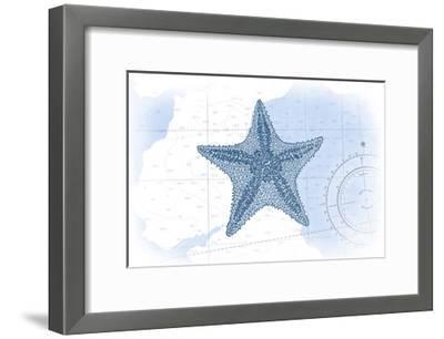 Starfish - Blue - Coastal Icon-Lantern Press-Framed Art Print