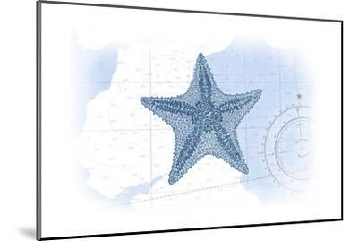 Starfish - Blue - Coastal Icon-Lantern Press-Mounted Art Print