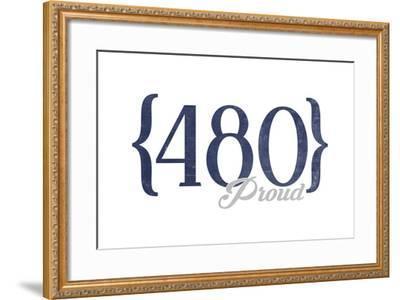 Tempe, Arizona - 480 Area Code (Blue)-Lantern Press-Framed Art Print