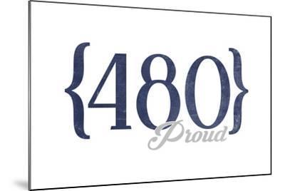 Tempe, Arizona - 480 Area Code (Blue)-Lantern Press-Mounted Art Print