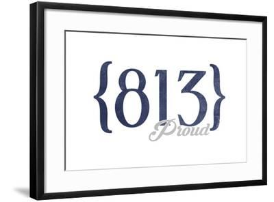 Tampa, Florida - 813 Area Code (Blue)-Lantern Press-Framed Art Print
