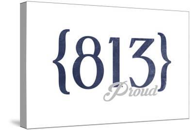 Tampa, Florida - 813 Area Code (Blue)-Lantern Press-Stretched Canvas Print