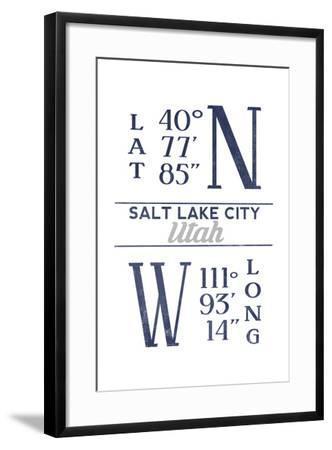 Salt Lake City, Utah - Latitude and Longitude (Blue)-Lantern Press-Framed Art Print