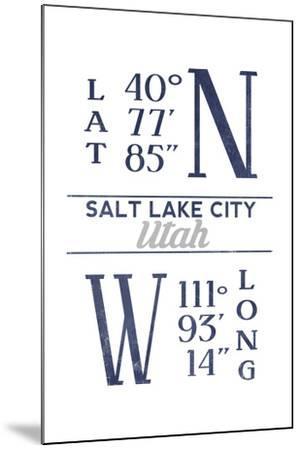 Salt Lake City, Utah - Latitude and Longitude (Blue)-Lantern Press-Mounted Art Print