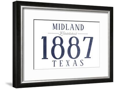 Midland, Texas - Established Date (Blue)-Lantern Press-Framed Art Print