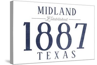 Midland, Texas - Established Date (Blue)-Lantern Press-Stretched Canvas Print