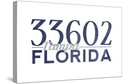 Tampa, Florida - 33602 Zip Code (Blue)-Lantern Press-Stretched Canvas Print