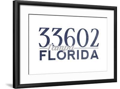 Tampa, Florida - 33602 Zip Code (Blue)-Lantern Press-Framed Art Print