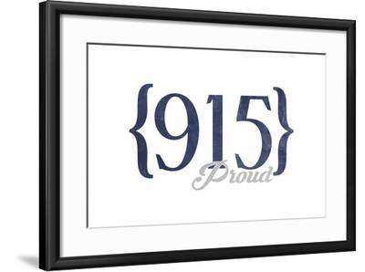 Midland, Texas - 915 Area Code (Blue)-Lantern Press-Framed Art Print