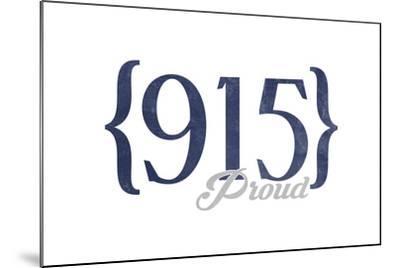 Midland, Texas - 915 Area Code (Blue)-Lantern Press-Mounted Art Print