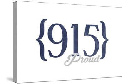 Midland, Texas - 915 Area Code (Blue)-Lantern Press-Stretched Canvas Print