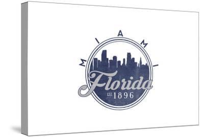 Miami, Florida - Skyline Seal (Blue)-Lantern Press-Stretched Canvas Print