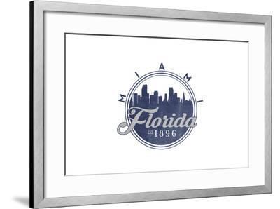 Miami, Florida - Skyline Seal (Blue)-Lantern Press-Framed Art Print
