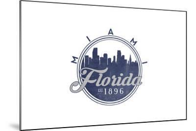 Miami, Florida - Skyline Seal (Blue)-Lantern Press-Mounted Art Print