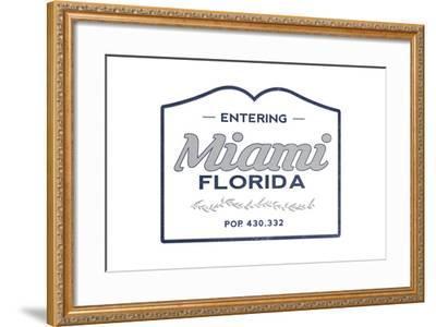 Miami, Florida - Now Entering (Blue)-Lantern Press-Framed Art Print