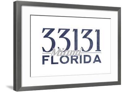 Miami, Florida - 33131 Zip Code (Blue)-Lantern Press-Framed Art Print
