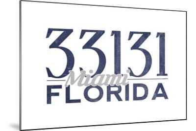 Miami, Florida - 33131 Zip Code (Blue)-Lantern Press-Mounted Art Print
