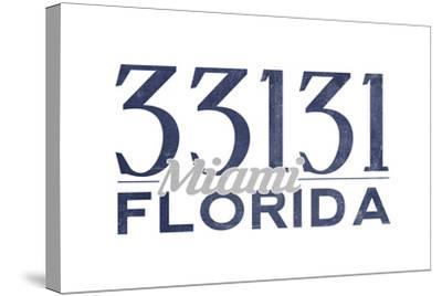 Miami, Florida - 33131 Zip Code (Blue)-Lantern Press-Stretched Canvas Print