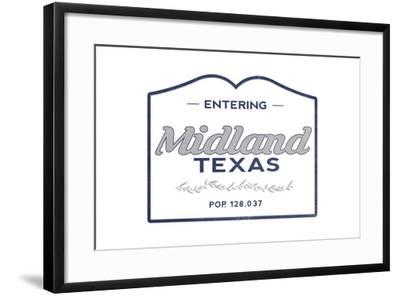 Midland, Texas - Now Entering (Blue)-Lantern Press-Framed Art Print